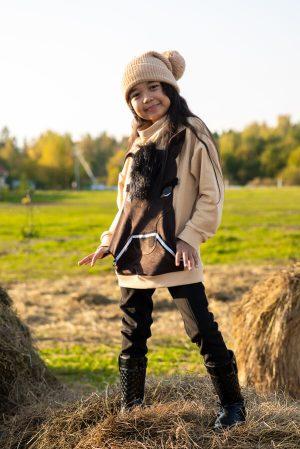 """Бежевый детский свитшот для девочки, с аппликацией """"Лошадка"""""""