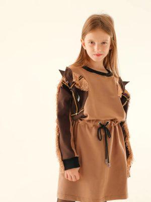 """Детское платье-туника для девочки, с аппликацией """"Лошадка"""" на рукавах"""