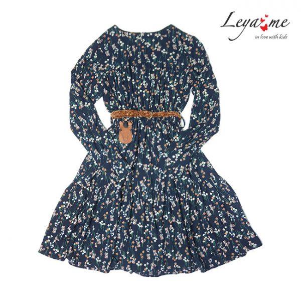 Темно-синее детское платье с цветочным принтом