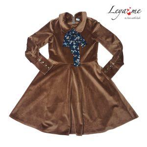 Нарядное детское бархатное платье для девочки, с бантом