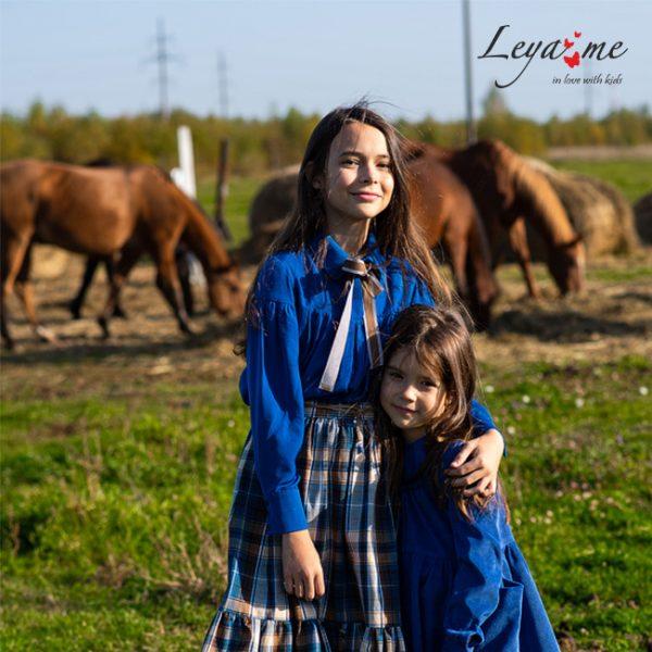 Синяя детская блузка для девочки