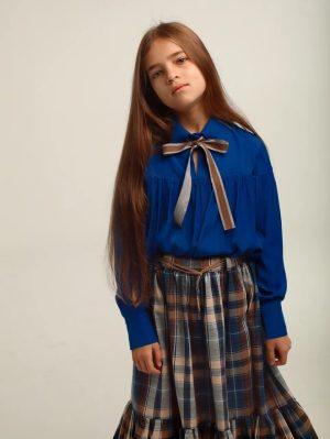 Синяя детская блузка для девочки, с бантом