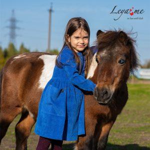 Вельветовое синее детское платье-туника для девочки