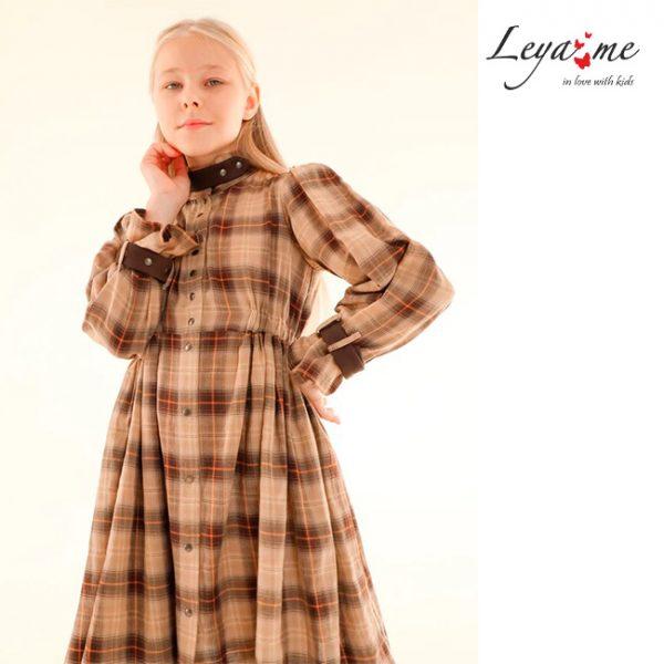 Бежевое детское платье-рубашка для девочки