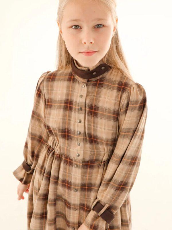 Бежевое детское платье-рубашка для девочки 2021 2