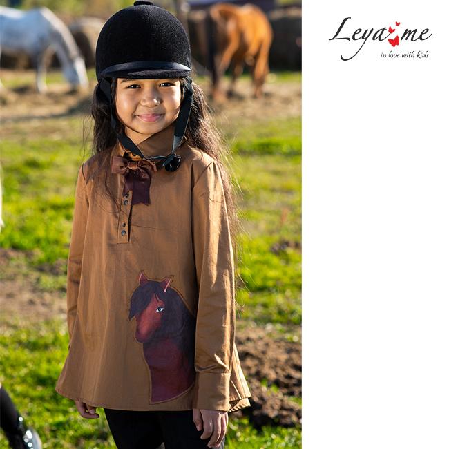Детская блузка для девочки в виде рубашки-туники с воланом и принтом Лошадка