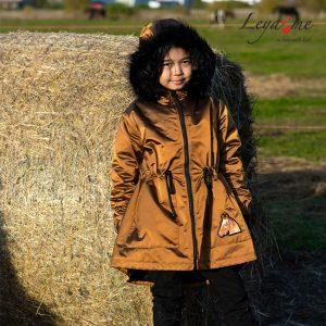 Утепленная детская парка для девочки, золотисто-рыжая с мехом на капюшоне