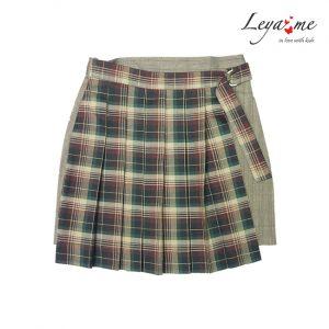 Детская юбка-трапеция для девочки, с клетчатой вставкой