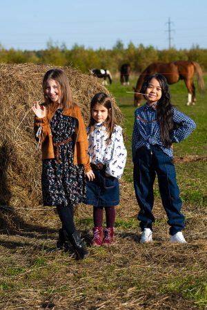 Детские джинсы для девочки, с манжетами
