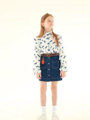 Принтованная белая детская блузка для девочки, с лошадками