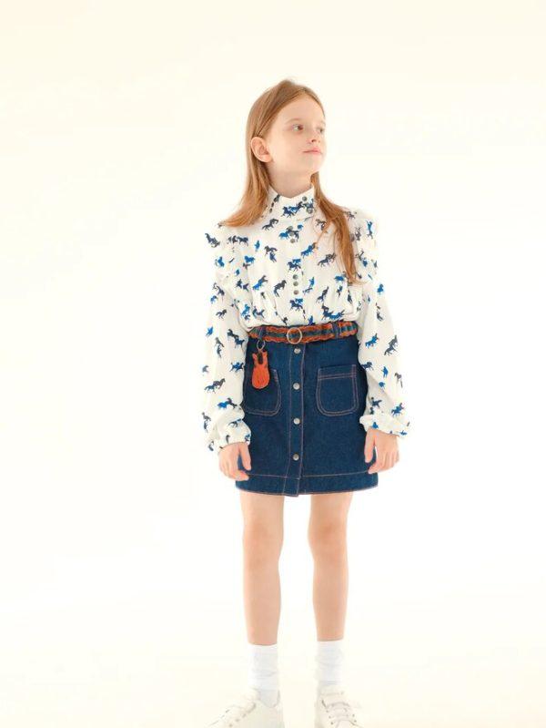 Принтованная белая детская блузка для девочки