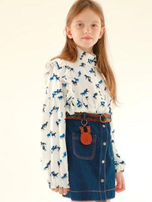 Детская джинсовая юбка для девочки, с декоративным поясом
