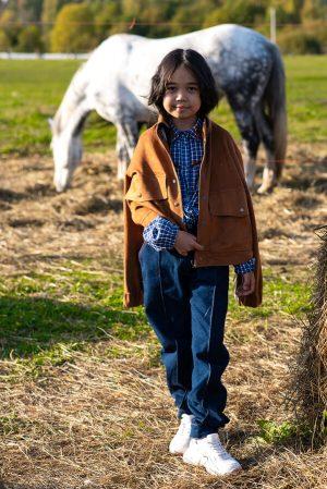 Детская замшевая куртка для девочки, с бахромой в стиле кантри