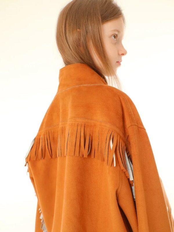 Детская замшевая куртка для девочки, с бахромой в стиле кантри 2020 1