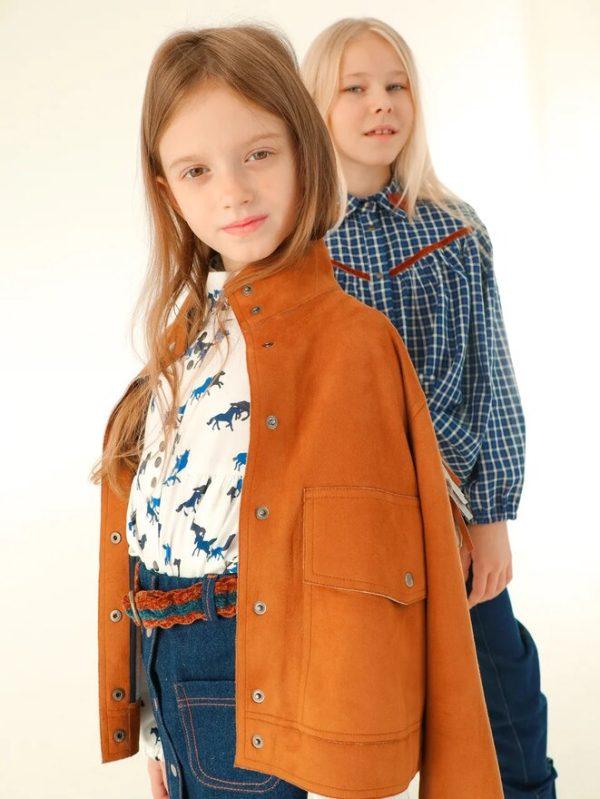 Детская замшевая куртка для девочки, с бахромой в стиле кантри 2020 2
