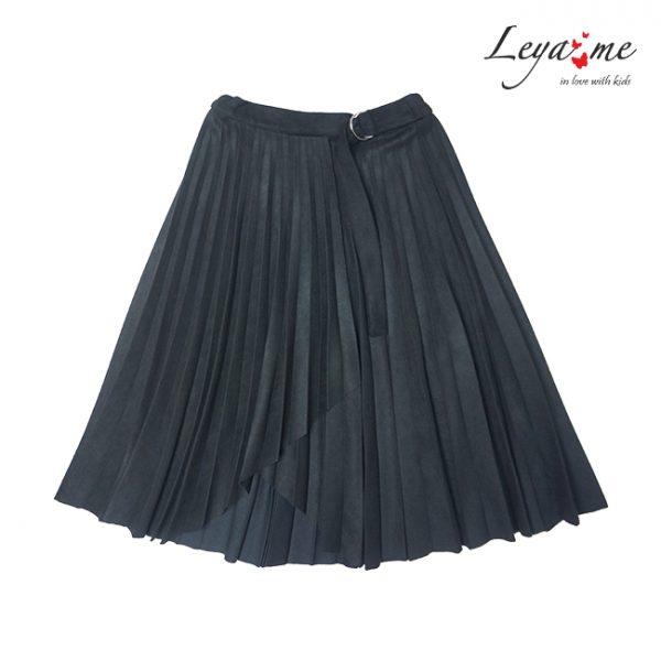 Замшевая черная плиссированная детская юбка для девочки