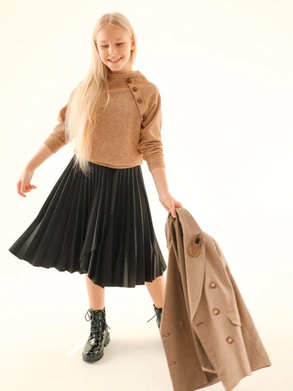 Замшевая черная плиссированная детская юбка для девочки 2021 1