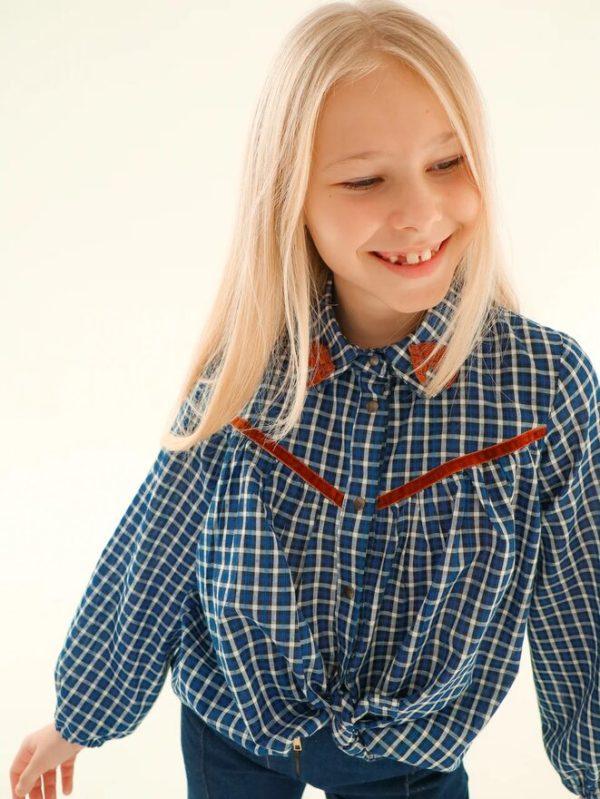 Детская блузка-рубашка в клетку для девочки