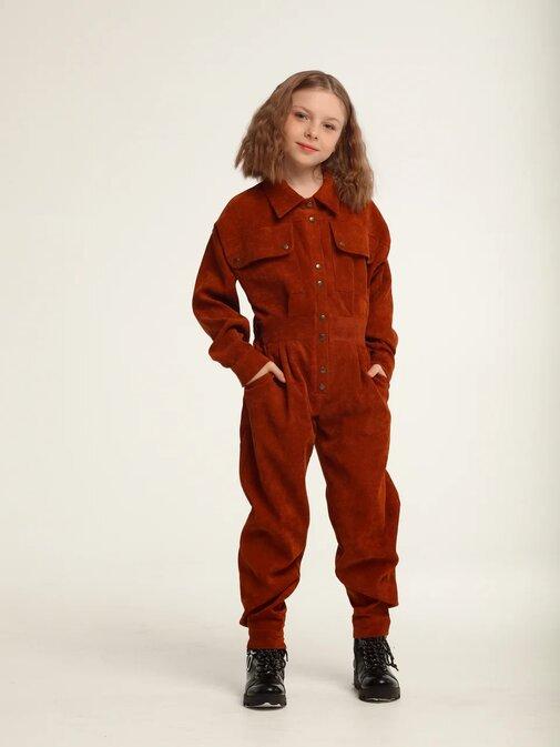 Оранжевый вельветовый детский комбинезон для девочки
