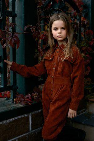 Оранжевый вельветовый детский комбинезон для девочки, с накладными карманами