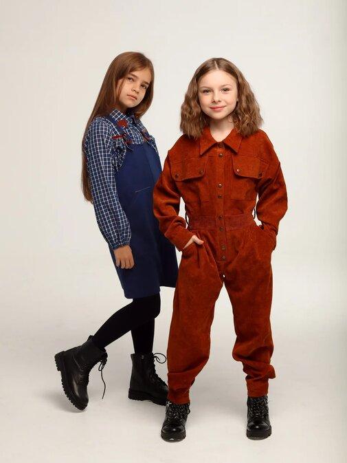 Оранжевый вельветовый детский комбинезон для девочки, с накладными карманами 2020 1