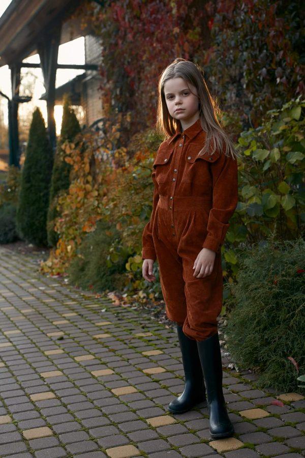 Оранжевый вельветовый детский комбинезон для девочки, с накладными карманами 2020 2