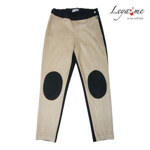 Бежево-черные замшевые детские брюки с заплатками на коленях, для девочки
