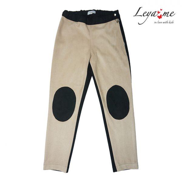 Бежево-черные замшевые детские брюки с заплатками на коленях