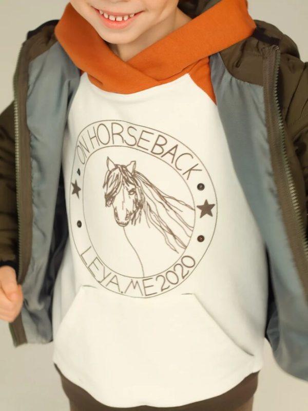 Комбинированное детское худи с принтом On horseback 2020 2