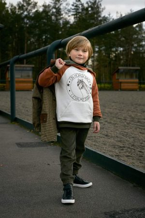Комбинированное детское худи с принтом On horseback