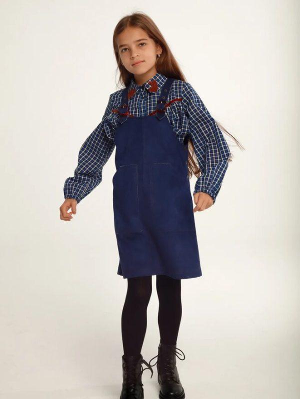 Синий замшевый детский сарафан для девочки