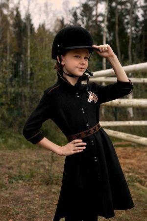 """Черное замшевое детское платье-рубашка для девочки, с окантовкой и нашивкой """"Лошадка"""""""