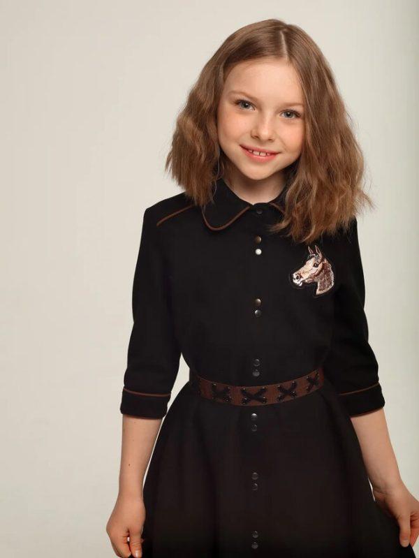 Черное замшевое детское платье-рубашка для девочки
