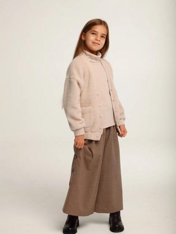 Комплект-двойка для девочки: бадлон без рукавов и кардиган из искусственного меха