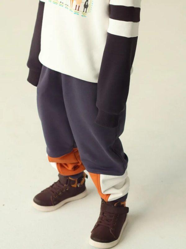 Комбинированные детские брюки с цветными вставками 2020 1