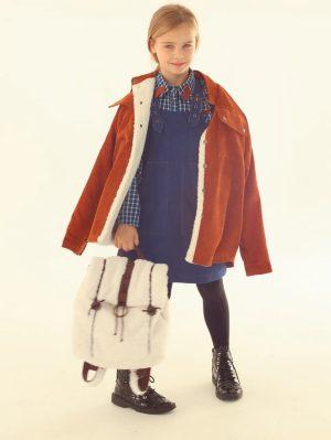 Вельветовая детская куртка унисекс с меховой подкладкой
