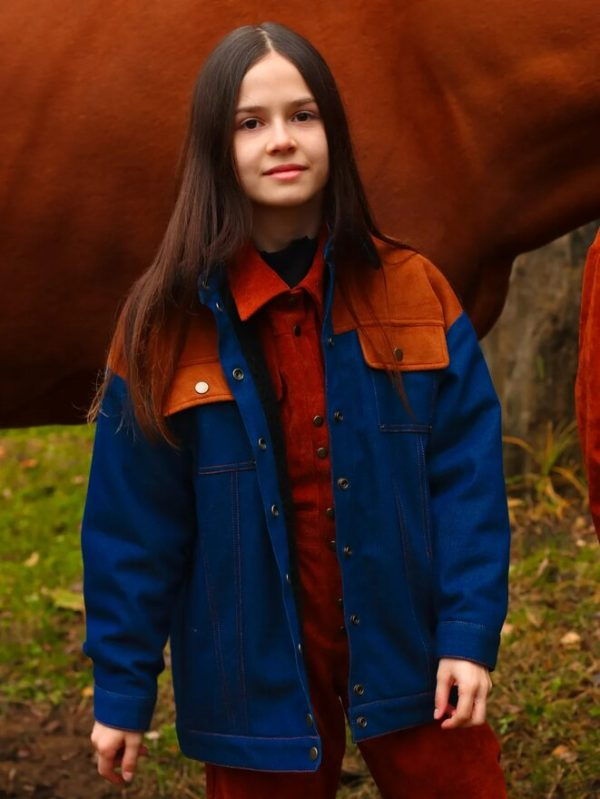 Утепленная джинсовая детская куртка для девочки