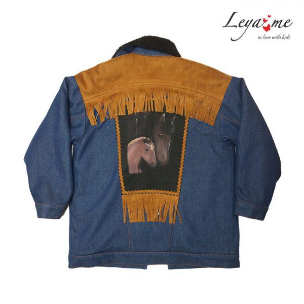 Утепленная джинсовая детская куртка для девочки, с принтом и бахромой на спине 2020 2