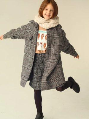 Бежевый детский свитшот для девочки, с принтом и контрастными манжетами