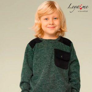 Темно-зеленый детский свитшот для мальчика, с кокеткой и замшевым карманом