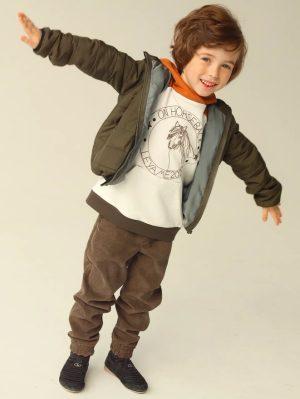 Стеганая зеленая детская куртка унисекс