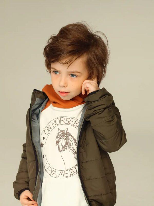 Стеганая зеленая детская куртка унисекс 2020 1