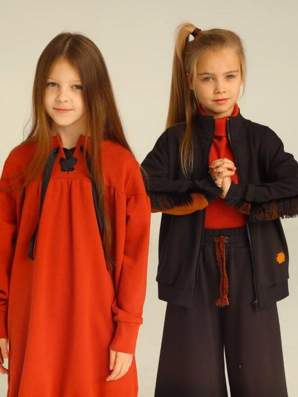 Терракотовое детское платье-туника со шнуровкой для девочки 2020 1