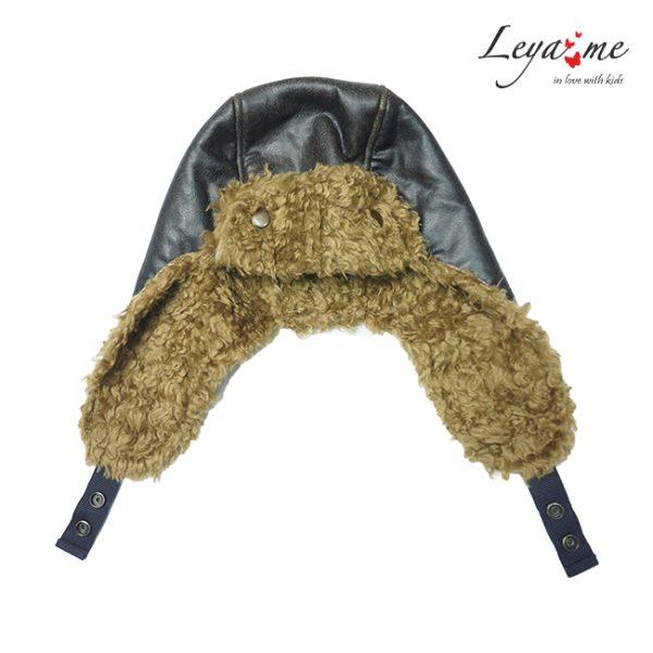 Детская шапка из эко-кожи и эко-меха