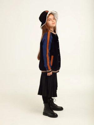 """Осенняя детская панама для девочки, из стеганого бархата на меховой подкладке с брошью """"Лошадка"""""""