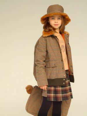 Теплая детская панама для девочки, из клетчатого текстиля на меховой подкладке