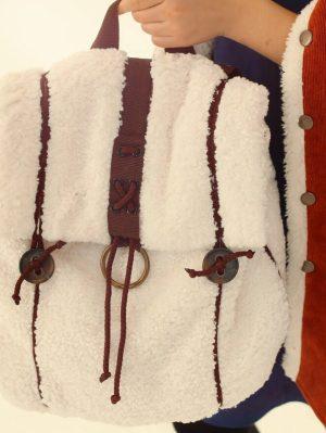 Белый детский рюкзак для девочки, из искусственной овчины