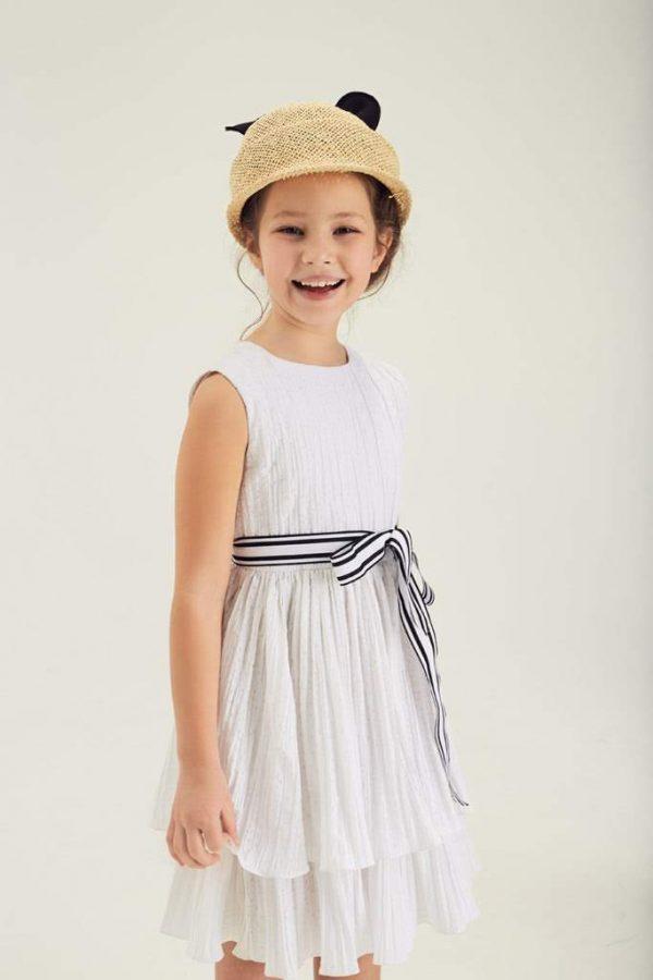 Платье белое с воланами и открытой спиной на девочку 2021 1
