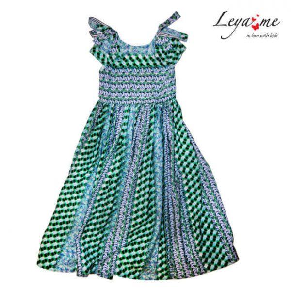 Цветное детское летнее платье с декором на плечах