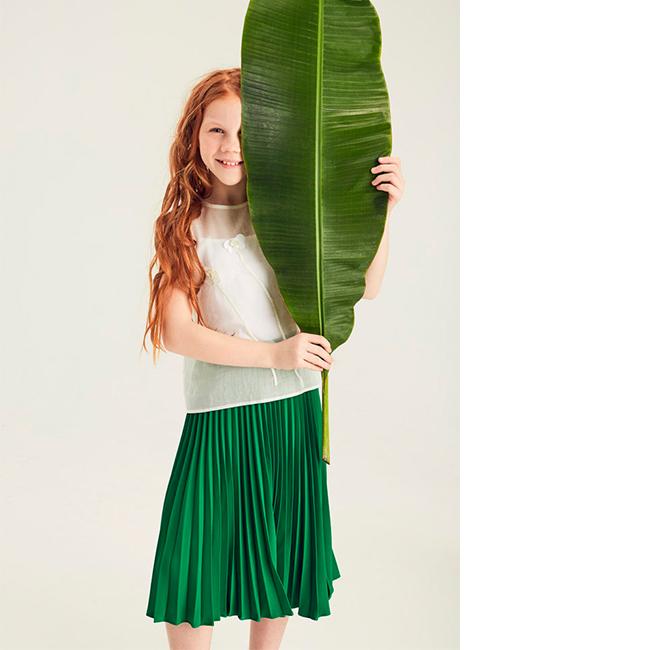 Зеленая плиссированная юбка для девочки
